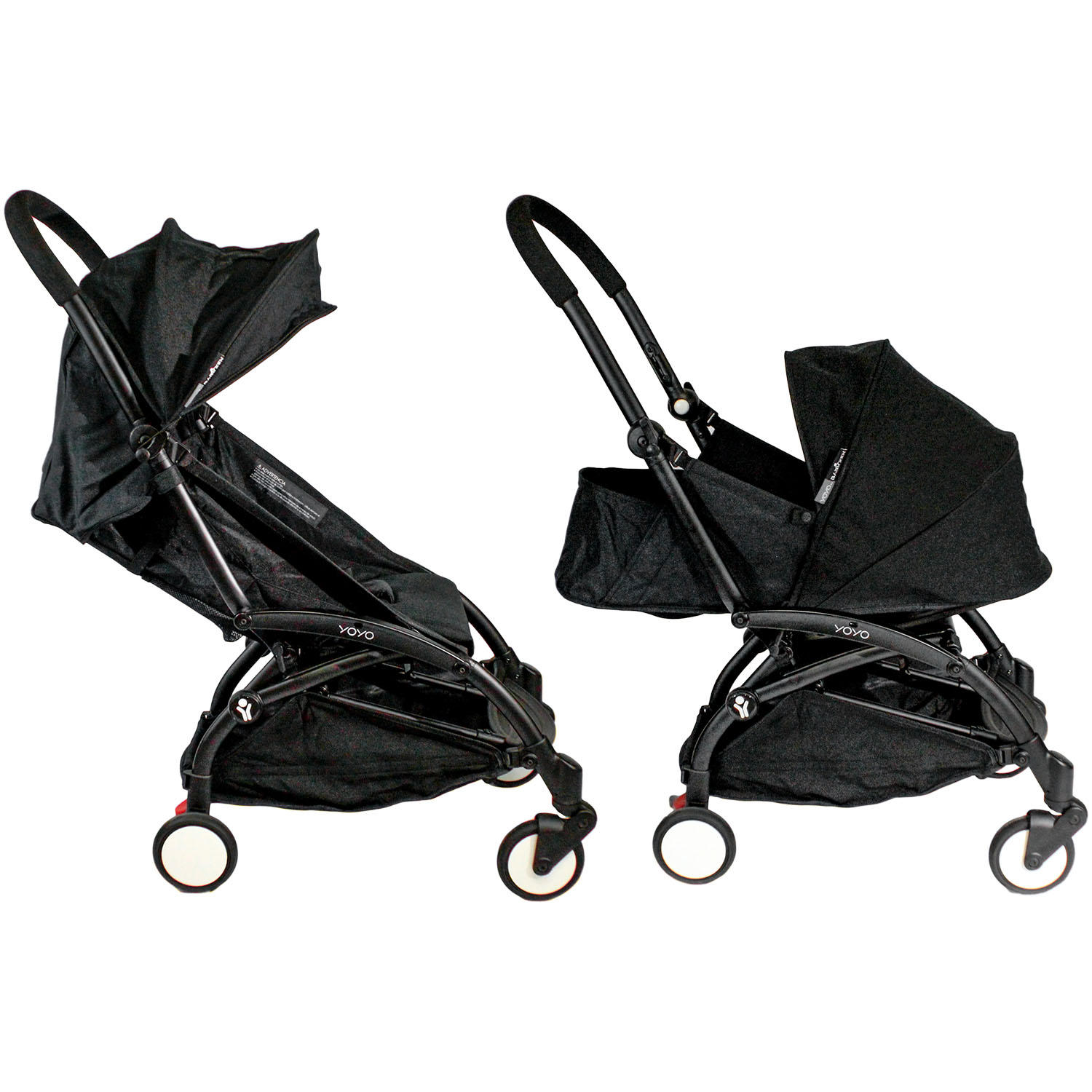Babyzen YOYO + 0+ and 6+ Black Stroller with Bassinet, Seat and Canopy