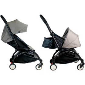 Babyzen YOYO + 0+ and 6+ Black Stroller with Bassinet, Seat and Canopy (Choose Your Color)