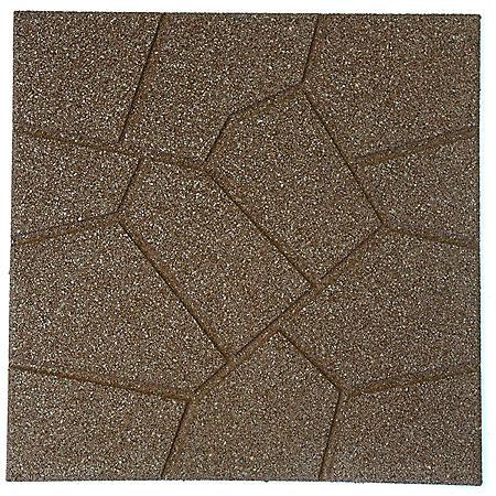 "18"" x 18"" Rubber Reversible Brickface Paver - Brown"