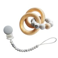 Tiny Teether Designs Silicone and Beech Teething Rattle and Pacifier Clip (Choose Your Color)