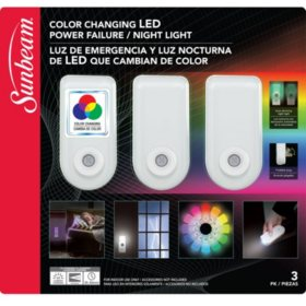 Sunbeam Color Changing Led Power Failure Night Light With