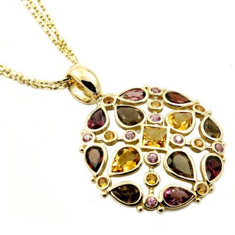 14K Yellow Gold Multi-Gem Medallion Pendant