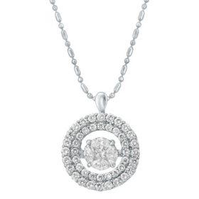 1.00 ct. t.w. Dancing Diamond Pendant in 14K White Gold
