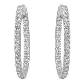 1 CT. T.W. Diamond Hoop Earrings in 14K White Gold