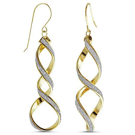 14K Italian Yellow Gold Glitter Double Twist French Wire Earrings