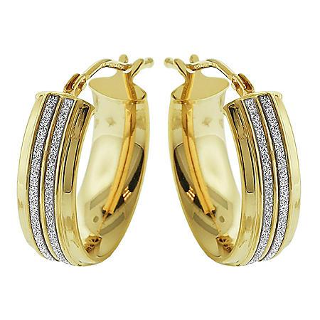 14K Italian Yellow Gold Oval Double Channel Glitter Earrings