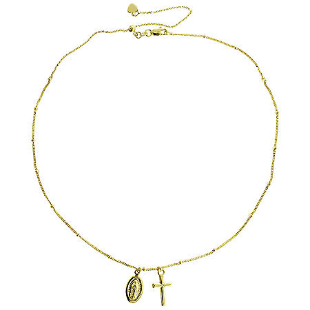 14K Yellow Gold Cross & Mary Choker, 16""