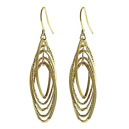14K Italian Gold Multi Oval French Wire Earrings