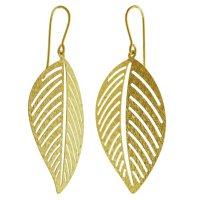 14K Italian Yellow Gold Textured Leaf Earrings