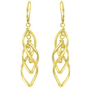 14K Italian Gold Twist Drop Leverback Earrings