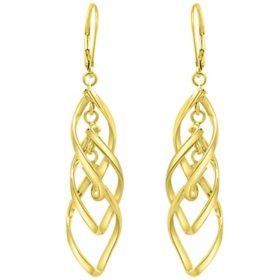 14K Italian Gold Twist Drop Leverback Earrings