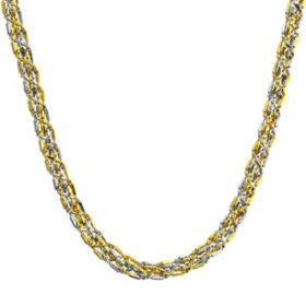 14K Two Tone Braided Gold Chain Necklace, 18""