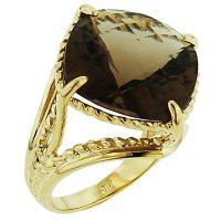 12.0 CT. Smoky Quartz Ring in 14k Yellow Gold