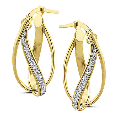 14K Yellow Gold Italian Oval Crossover Earrings