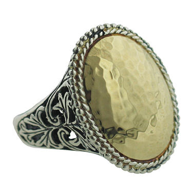 Sterling Silver and 14K Yellow Gold Oval Hammered Ring
