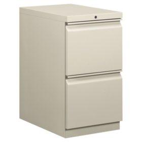 "HON 22"" Efficiencies 2-Drawer Mobile Pedestal File, Light Gray"