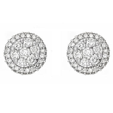 1.0 ct. t.w. Diamond Cluster Earrings in 14K White Gold (H-I, I1)