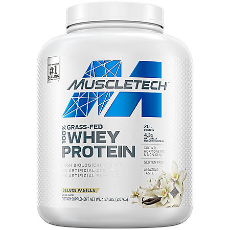 MuscleTech Grass Fed 100% Whey Protein, Vanilla