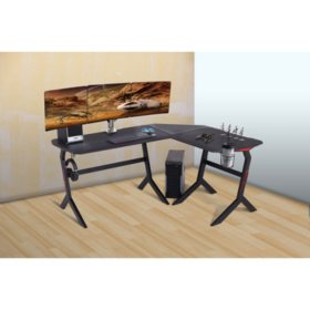 """L-Shaped Gaming Desk for 3 Monitors, 69"""" x 55"""""""