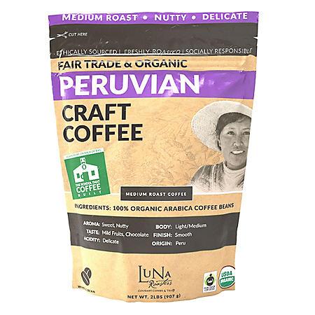 Luna Roasters Fair Trade Organic Peruvian Coffee, Whole Bean (2 lb.)