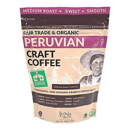 Luna Roasters Fair Trade Organic Peruvian Craft Whole Bean Coffee, Medium Roast (30 oz.)
