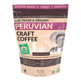 Luna Roasters Fair Trade Organic Peruvian Craft Whole Bean Coffee, Medium Roast (30 oz.)