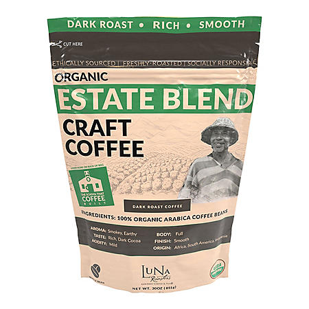 Luna Roasters Organic Estate Blend Craft Whole Bean Coffee, Dark Roast (30 oz.)