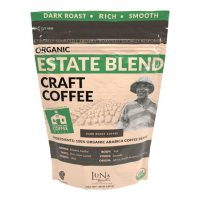 Luna Roasters Organic Estate Blend Craft Whole Bean Coffee, Dark Roast (30 oz.)
