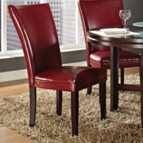 Harding Leather Parsons Chair - Red - 2 pk.