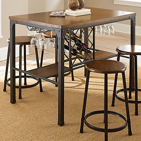 Reston Counter Height Table with Wine Storage
