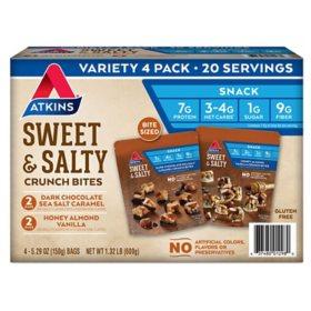 Atkins Sweet & Salty Bites Crunch Bites Variety Pack, Keto Friendly  (4 pk.)