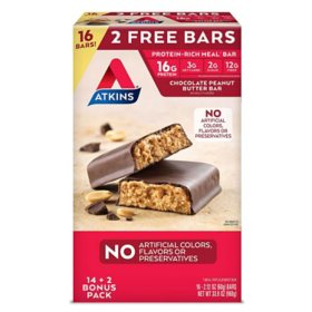 Atkins Meal Bar Chocolate Peanut Butter Pack (14 ct. + 2 Bonus Bars)