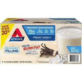 Atkins Gluten Free Protein-Rich Shake, Creamy Vanilla, Keto Friendly (15 pk.)