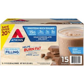 Atkins Gluten Free Protein-Rich Shake, Milk Chocolate Delight, Keto Friendly (15 pk.)