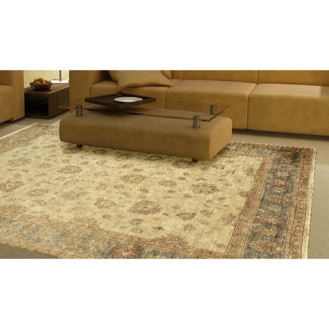 Traditional Hand-Knotted 8' x 10' Area Rug, Beige