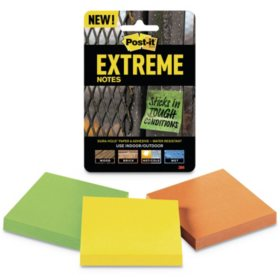 Post it Extreme Notes Water-Resistant Self-Stick Notes, Multi-Colored, 3 x 3, 45 Sheets, 3 Pack
