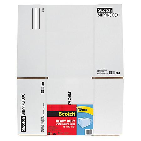 """Scotch Shipping Box, 16"""" x 12"""" x 8"""", White (10 pk.)"""