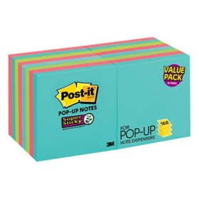 "Post-it Super Sticky Pop-up Notes, 3"" x 3"", Miami Collection, 16 Pack, 1,440 Total Sheets"