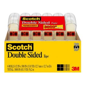 "Scotch  Double Sided Tape Dispenser Value Pack, 1/2"" x 425"", 6 Pack"