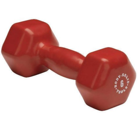 Body Solid Tools BSTVD6 6 lb. Vinyl Red Dumbbell