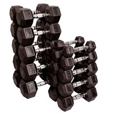 Rubber Hex Dumbell Set 5-50 lbs. - Paired