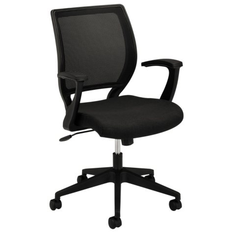 basyx by HON - VL521 Mid- Back Work Chair, Mesh Back, Fabric Seat - Black
