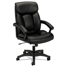 Basyx By HON   VL151 Executive High Back Chair, Black Leather