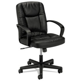 basyx VL171 Series Executive Mid-Back Leather Chair, Black