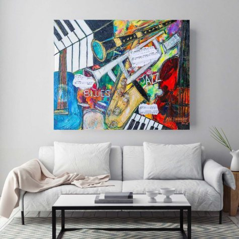 """Blues and Jazz Canvas Wall Art, 20"""" x 26"""""""
