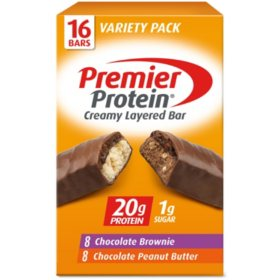 Premier Protein 20g Protein Bar, Variety Pack, Chocolate Brownie & Chocolate Peanut Butter (16 ct., 2.08 oz. ea.)