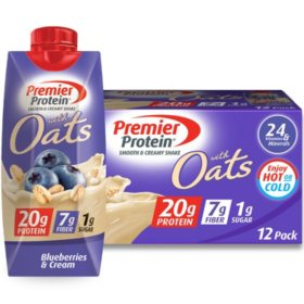 Premier Protein 20g Protein with Oats Shake, Blueberries and Cream (11 fl. oz., 12 pk.)