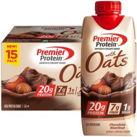 Premier Protein 20g Protein with Oats Shake, Chocolate Hazelnut (11 fl. oz., 15 pk.)
