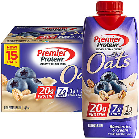 Premier Protein 20g Protein with Oats Shake, Blueberries and Cream (11 fl. oz., 15 pk.)