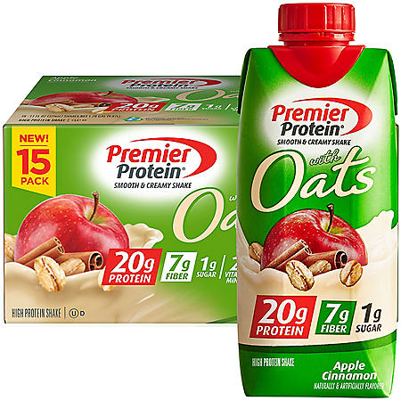 Premier Protein 20g Protein with Oats Shake, Apple Cinnamon (11 fl. oz., 15 pk.)